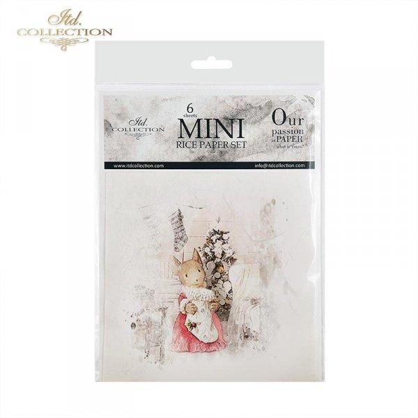 Zestaw papierów ryżowych ITD - RSM029 * myszka, myszki, myszka przy choince, myszka przy kominku, para myszek, myszka na spacerze, myszka na łyżwach, zima z myszkami