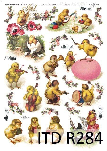 Wielkanoc, kurczaki, kurczaczki, kwiatki, wiosna, jajka, pisanki, R284