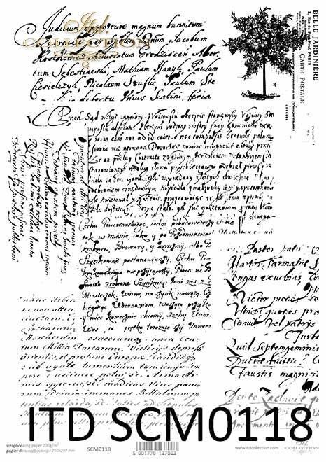 Papier scrapbooking Vintage, stare pismo*Vintage scrapbooking paper, old letter