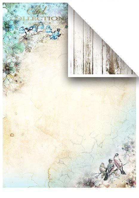 Zestawy-papierow-do-scrapbookingu-zestaw-Lato-w-blekitach-SCRAP-046-14-ptaszki-motylki-akwarelowe-kwiatki-mediowe-struktury-tla-struktury-farb-desek-spekalin-crak