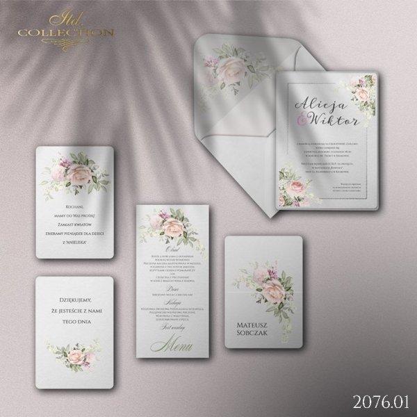 Zaproszenie 2076 * Zaproszenia ślubne * menu * winietka * koperta z wklejką - wersja 1