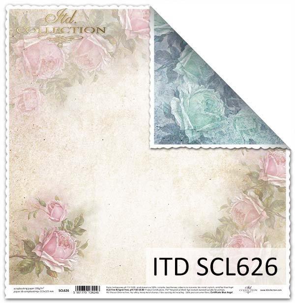 papier do scrapbookingu Vintage, róże*Vintage scrapbooking paper, roses