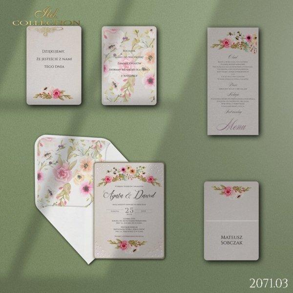 Zaproszenie 2071*Zaproszenia ślubne * menu * winietka * koperta z wklejką - wersja 3