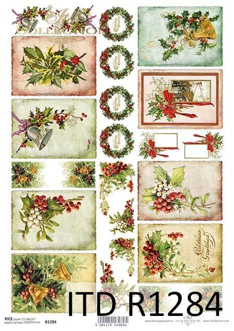 Tagi Vintage, świąteczne kompozycje w ramkach, wianki*Vintage tags, festive frame compositions, wreaths