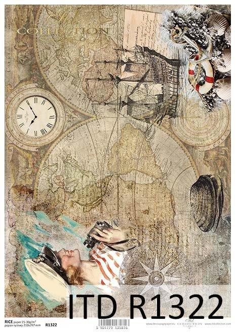 Papier decoupage Vintage, stare mapy, żaglowiec, muszelki*Vintage decoupage paper, old maps, sailing ship, shells