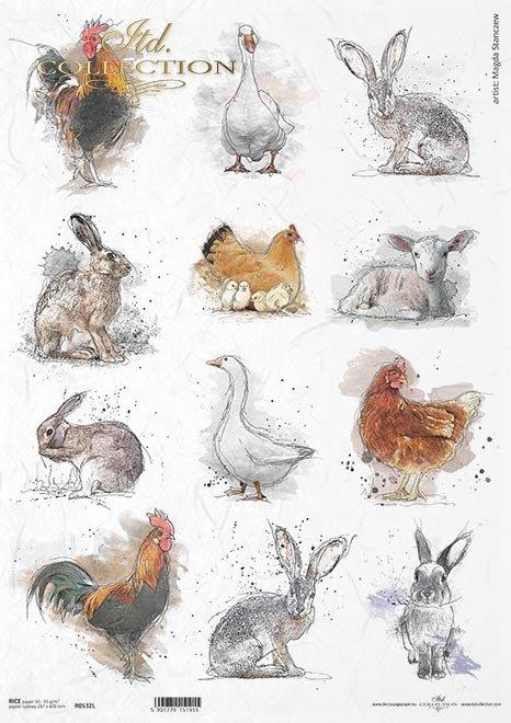 Pastelowe kolory, tagi, 12 małych obrazków, kogut, kura, królik, zając, kurczaki, Wielkanoc, wokół farmy