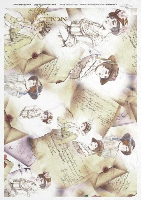 retro, vintage, old, letters, portraits, lady, ladies, hat, hats, R006