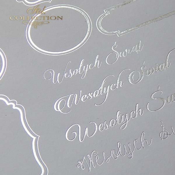 Papier specjalny do scrapbookingu, napisy świąteczne, srebrne ramki*Spezialpapier für Scrapbooking, Weihnachtsschriften, Silberrahmen