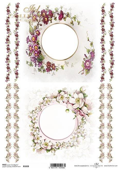 ramki, szlaczki, dekory, prymulki, pierwiosnek, prymulka, kwiat jabłoni*frames, borders, decors, primulas, primrose, primulas, apple blossom