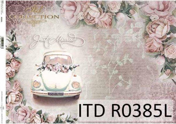 Papier decoupage kwiaty, piękne róże, samochód do ślubu*Paper decoupage flowers, beautiful roses, wedding car