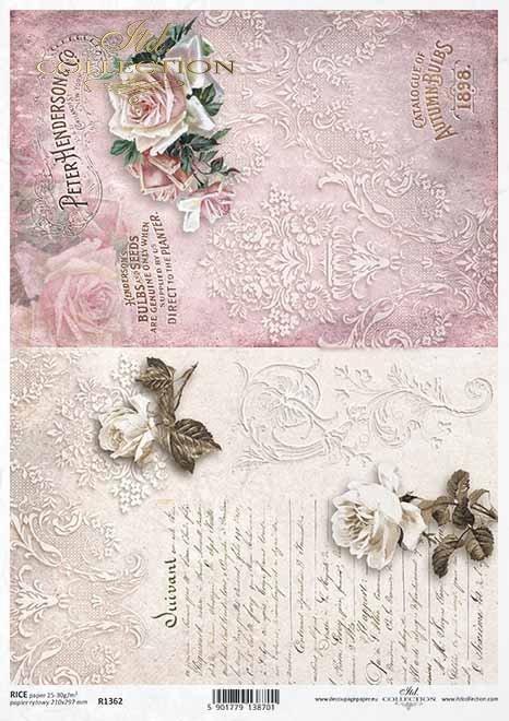 Papel decoupage flores, rosas, decoraciones, inscripciones*Бумага декупаж цветы, розы, декоры, надписи*Papier Decoupage Blumen, Rosen, Dekore, Inschriften