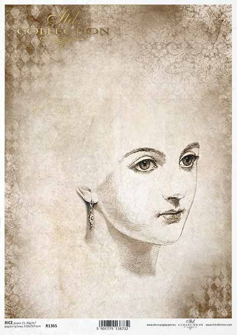 Papel decoupage en estilo vintage, boceto de una mujer*Decoupage-Papier im Vintage-Stil, Skizze-Gesicht einer Frau*Декупаж бумаги в винтажном стиле, эскиз лица женщины