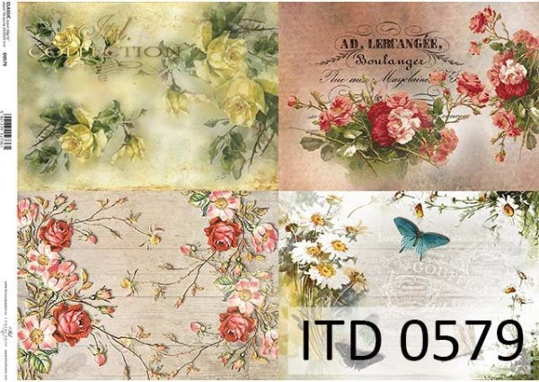 papier do decoupage kwiaty, róże, motyle*Paper for decoupage flowers, roses, butterflies