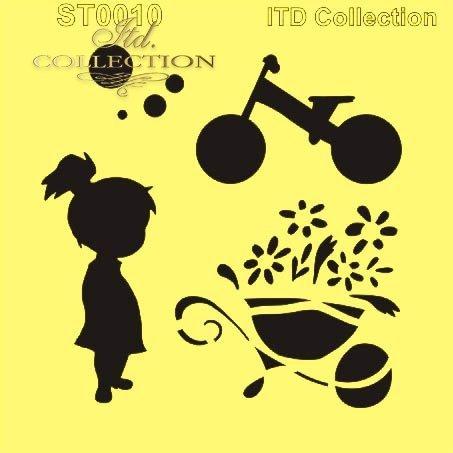 Szablon ST0010 - dziewczynka, rowerek, taczka z kwiatami