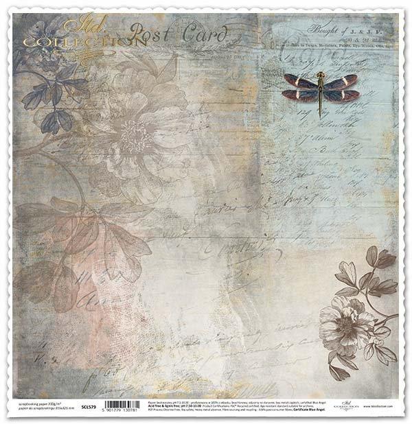Papier für das Scrapbooking - Libelle, Blumen, Weinlese*Papel para álbumes de recortes - libélula, flores, de la vendimia*Papír na scrapbooking - vážky, květiny, vinobraní