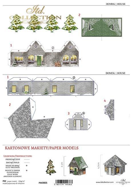 kartonowe domki, makiety papierowe, kartonowe modele * cardboard houses, paper models, cardboard models