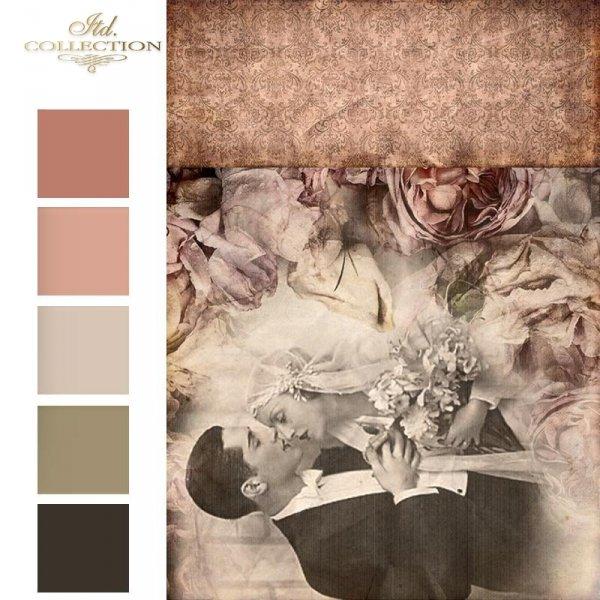 Papier decoupage retro, młoda para, nowożeńcy, zakochani*Retro decoupage paper, young couple, newlyweds, lovers