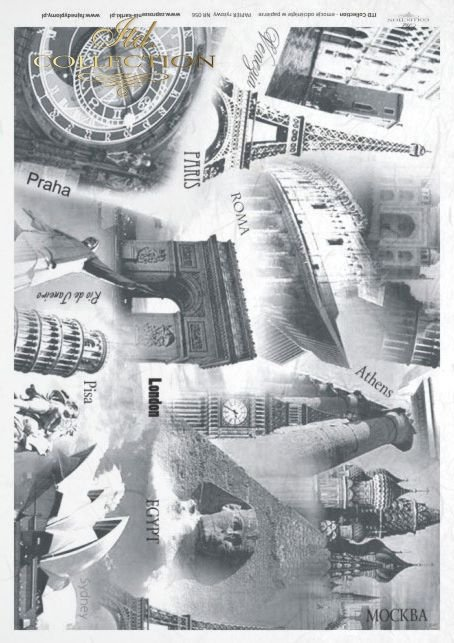 decoupage rice paper - favorite cities,