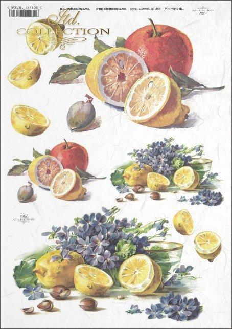 lemon, lemons, fruit, violets, flowers, R396