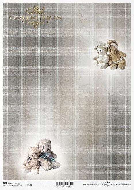 świąteczne tło, misie, pluszowe zabawki, beżowo-brązowa kratka*Christmas background, teddy bears, plush toys, beige and brown check