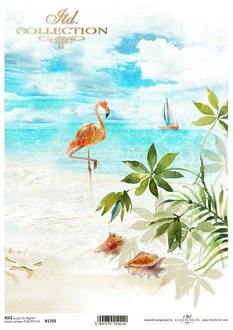 Wakacje, żaglówka, łódka, plaża, morze, palma, pelikan, muszle...