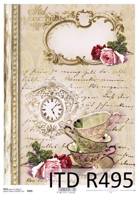 filiżanka, róża, róże, zegar, retro, tło, vintage, R495