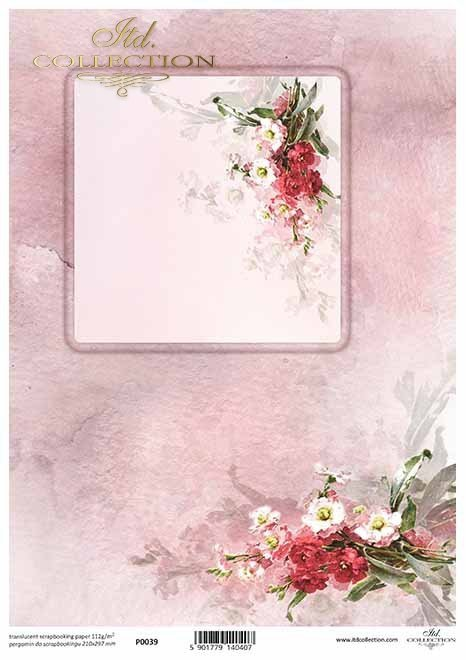 arreglos de flores de papel decoupage, marco decorativo*Blumenarrangements aus Decoupage-Papier, Dekorrahmen*декорирование бумажных цветочных композиций, декоративная рамка