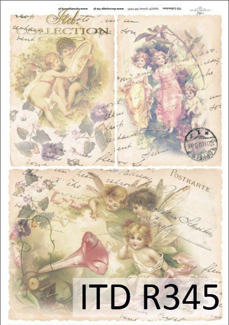 elfy, vintage, kwiaty, stare pocztówki, bajki, baśnie, R345