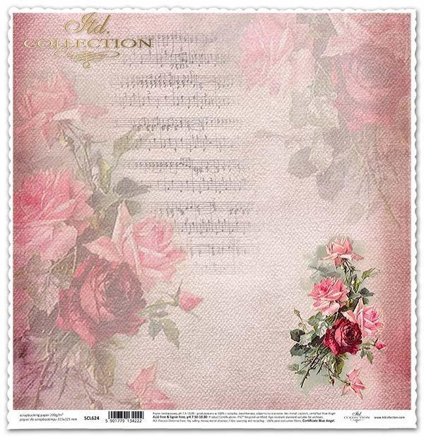 álbum de recortes de papel, flores rosas, notas*Scrapbooking Papierblumen , Rosen, Notizen*скрапбукинга бумажные цветы, розы, ноты