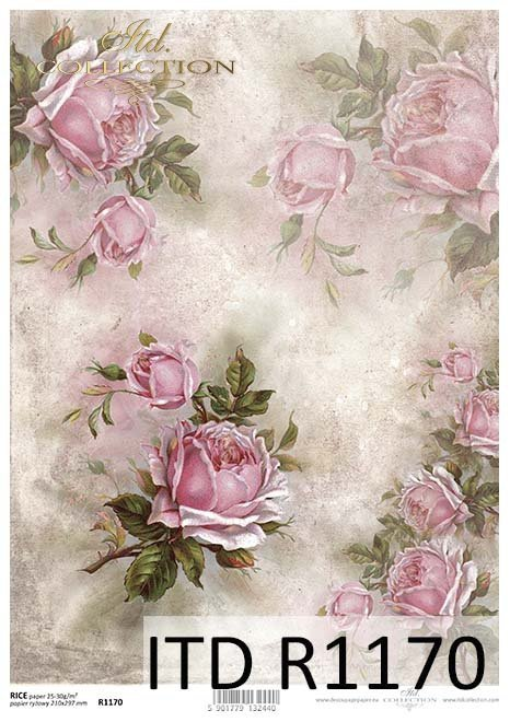 Rice Paper R1170 Paper For Decoupage Rice Roses Flowers