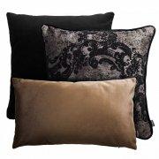 Czarno beżowy zestaw poduszek dekoracyjnych Pram+Gold+Velvet