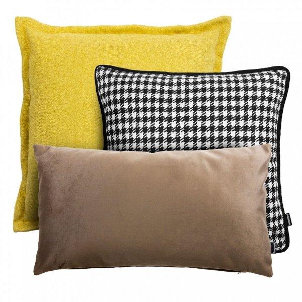 Żółto Beżowy zestaw poduszek Velvet + Pepitka + Tweed