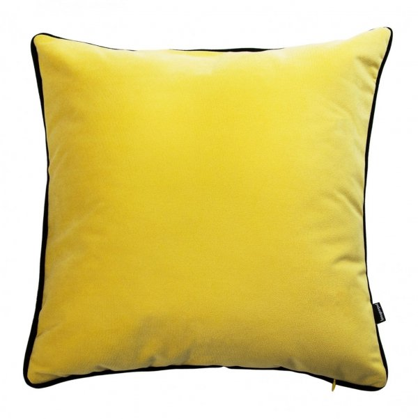 Poduszka dekoracyjna zółta z obszyciem
