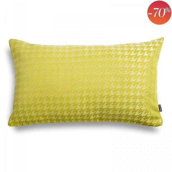 Żółta poduszka w pepitkę