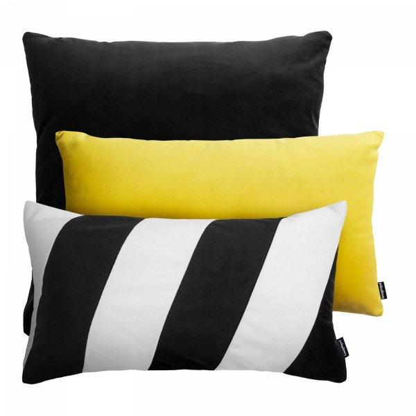 Czarno żółty zestaw poduszek dekoracyjnych Pram + Stripes