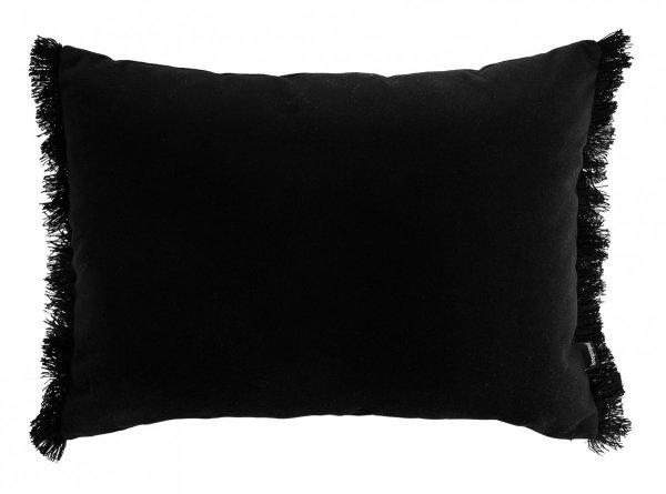 Czarna poduszka dekoracyjna z frędzlami