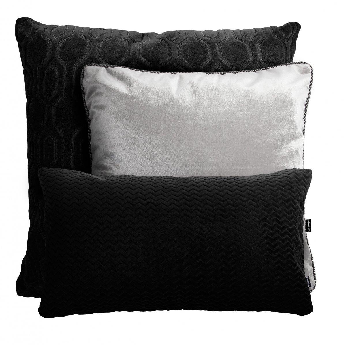 Srebrno czarny zestaw poduszek dekoracyjnych Glamour