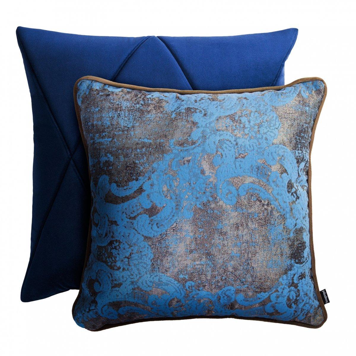 Niebieski zestaw poduszek dekoracyjnych Touch+Gold