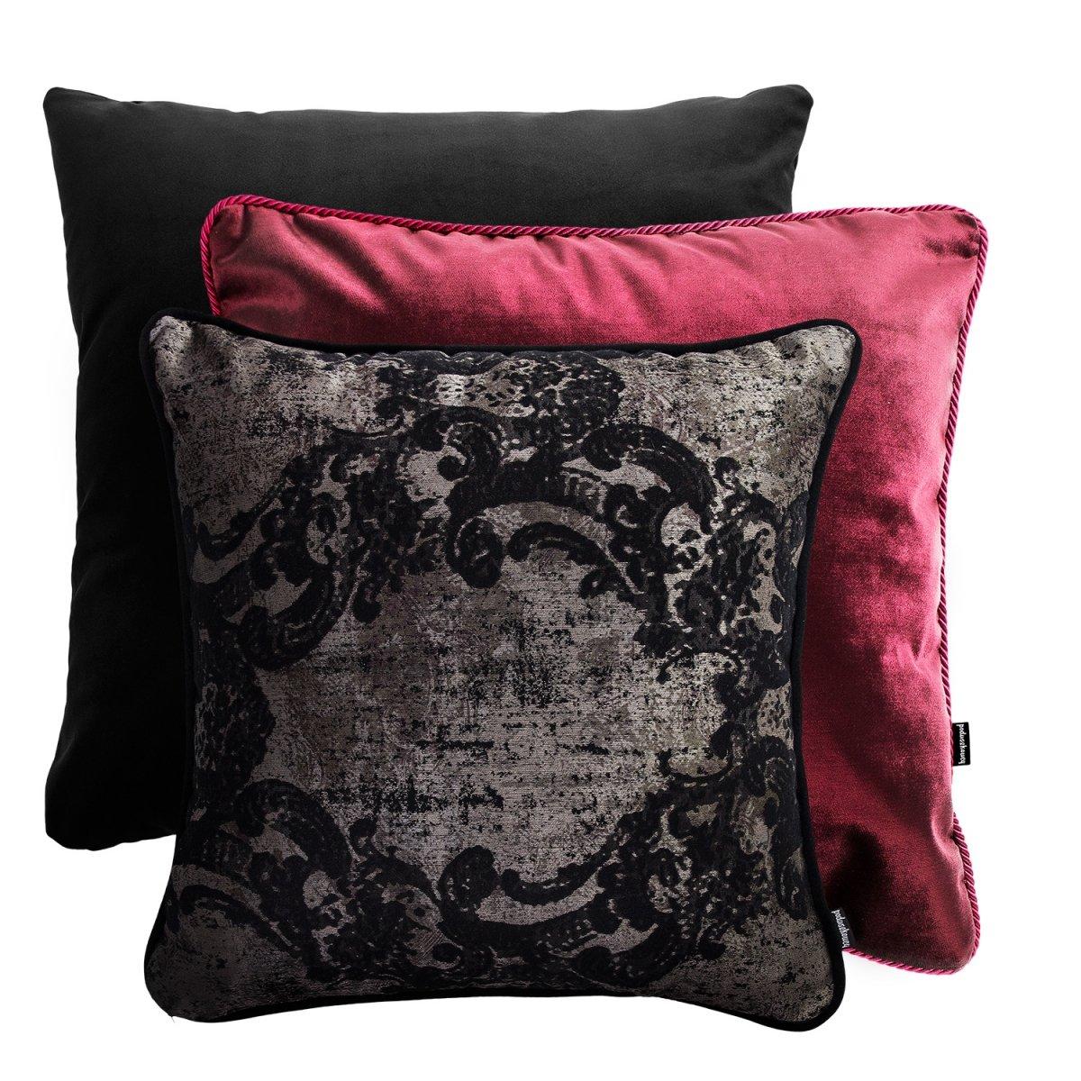 Czerwono czarny zestaw poduszek dekoracyjnych Glamour