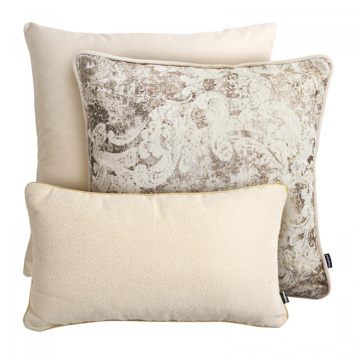 Kremowy zestaw poduszek dekoracyjnych Velvet+Gold+Alaska