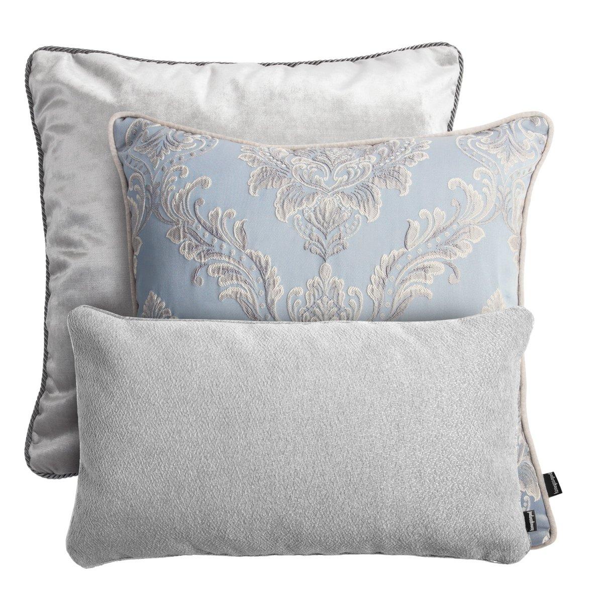 Szaro błękitny zestaw poduszek dekoracyjnych Queen