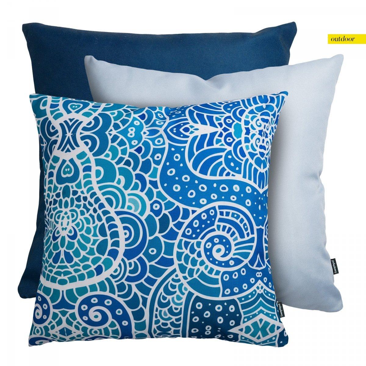 Niebieski zestaw poduszek ogrodowych Santorini