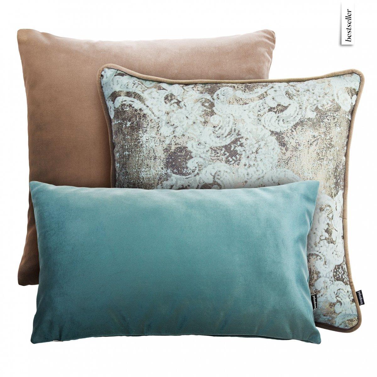 Beżowo miętowy zestaw poduszek dekoracyjnych Velvet+Gold