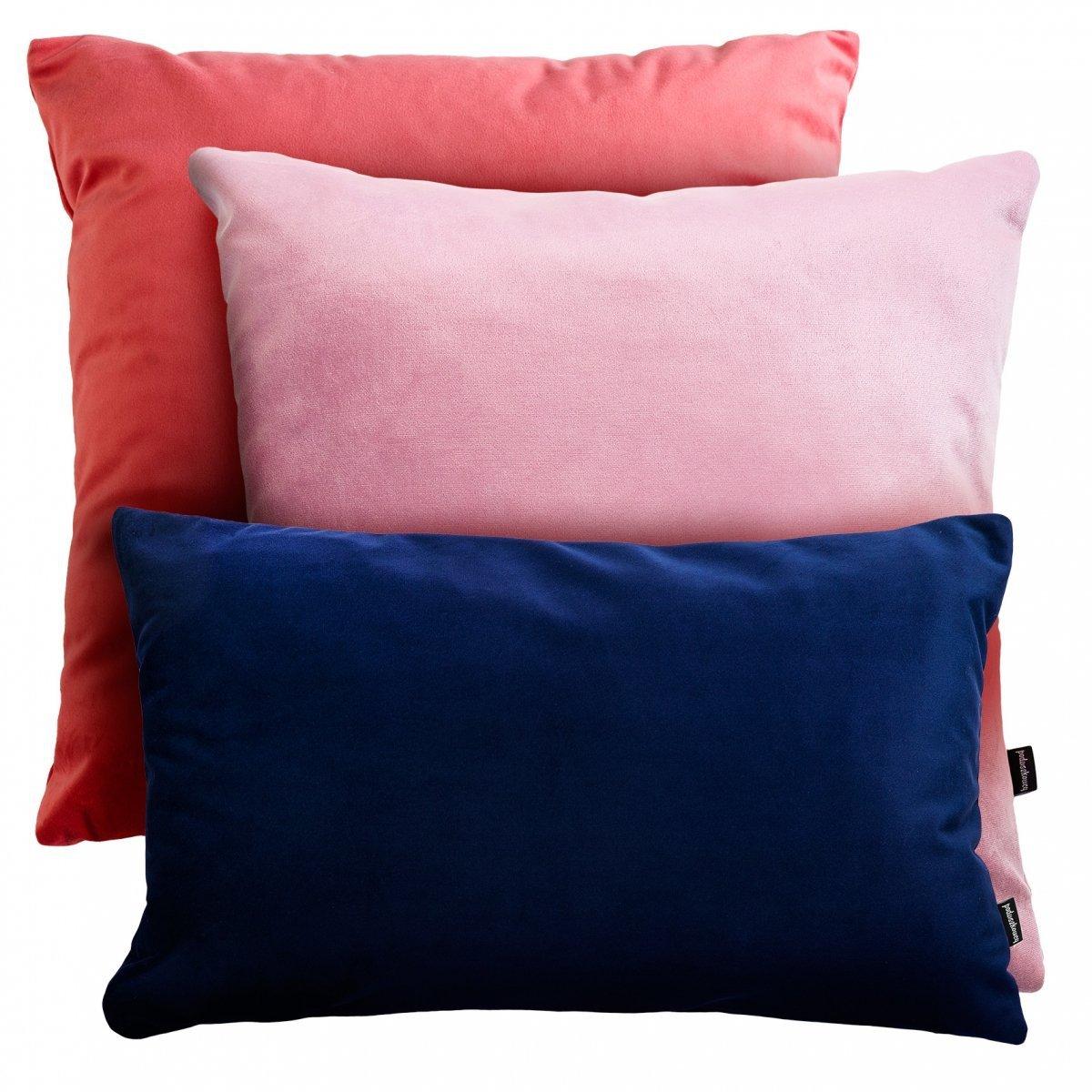 Różowo granatowy zestaw poduszek Velvet