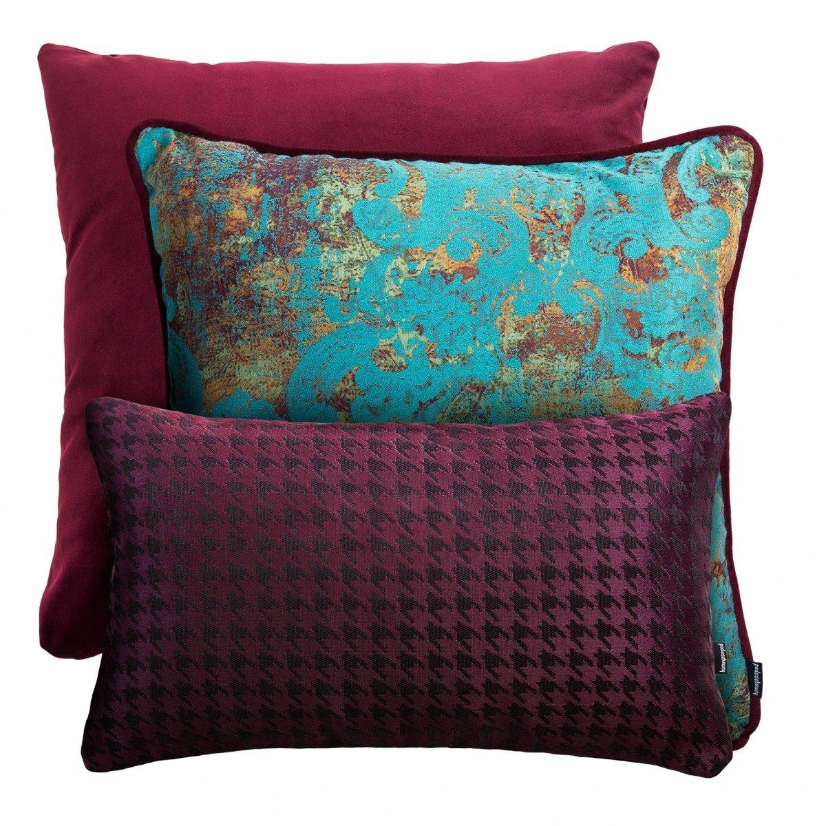 Bordowy zestaw poduszek dekoracyjnych Velvet+Gold+Pepitka