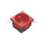 JAVEL gniazdo elektryczne 1x230 z uziemieniem, czerwone, 45x45, 2mod.