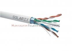 SOLARIX kabel F/UTP, drut, PVC, szary, kat.6