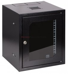 SABAJ Szafa 10 wisząca, 6U 300, drzwi metal/szkło, czarna