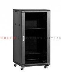 LINKBASIC Szafa 19 stojąca 22U 600x600 mm (drzwi szklane,2xwent.,2xpółka,1xlistwa) czarna
