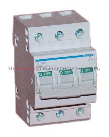HAGER Rozłącznik / wyłącznik główny – 3 biegunowy, 100A, 230V